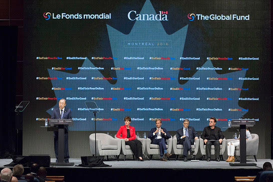 Ban Ki-moon addresses the opening of the Fifth Replenishment Conference of the Global Fund to Fight Aids, Tuberculosis and Malaria, in Montreal, Canada