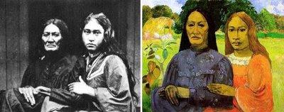 Fotografía de Henry Lemasson, y la obra Madre e hija, de Gauguin