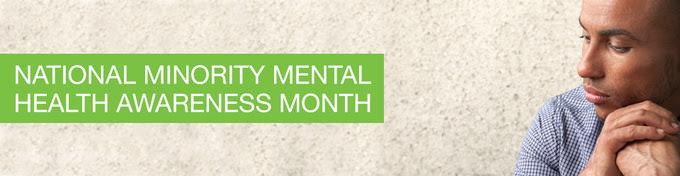 National Minority Mental Health Awareness Month. Young man looking sad.