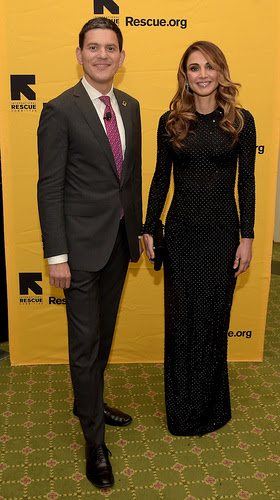 David Miliband and Queen Rania Al Abdullah of Jordan
