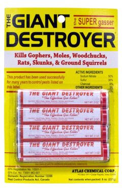 The Giant Destroyer - smoke bomb kills gophers, moles, woodchucks, rats, skunks and ground squirrels.