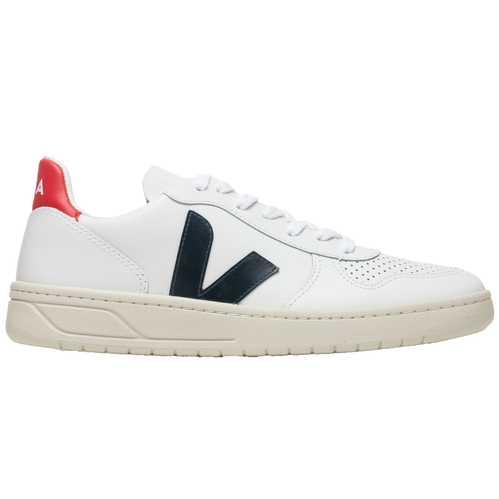Veja V-10 Leather - Extra White/Nautico Pekin