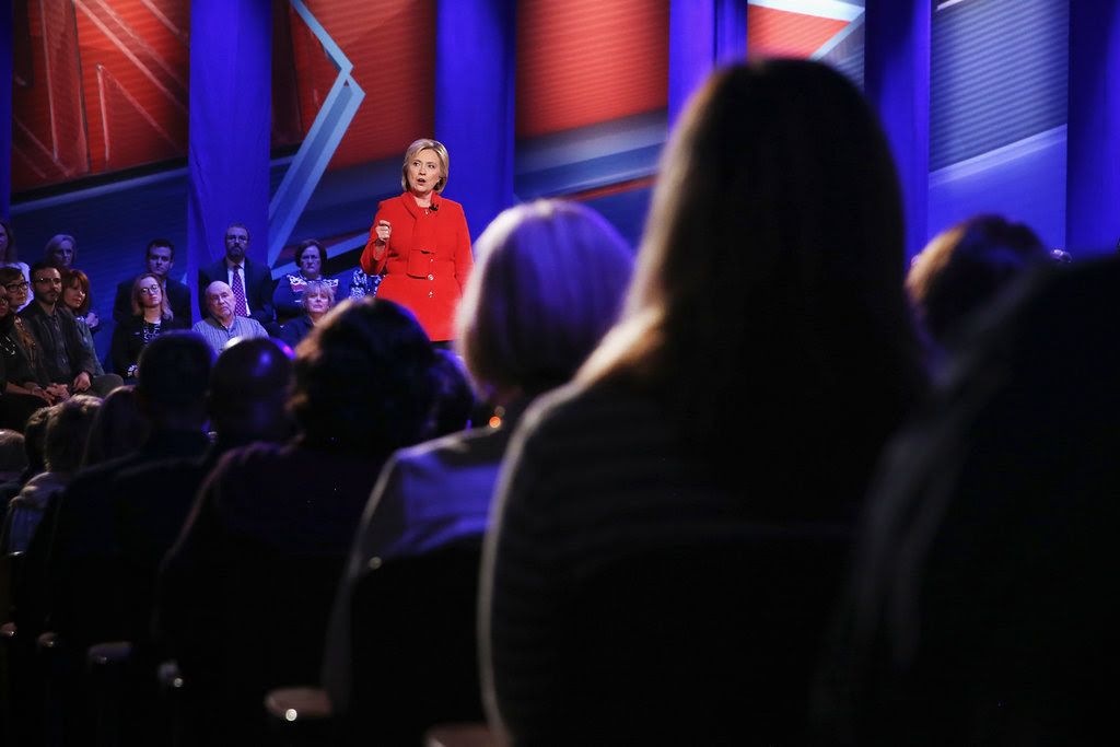 """You have to have somebody who is a proven fighter,"" Hillary Clinton told voters at a Democratic forum in Iowa on Monday."