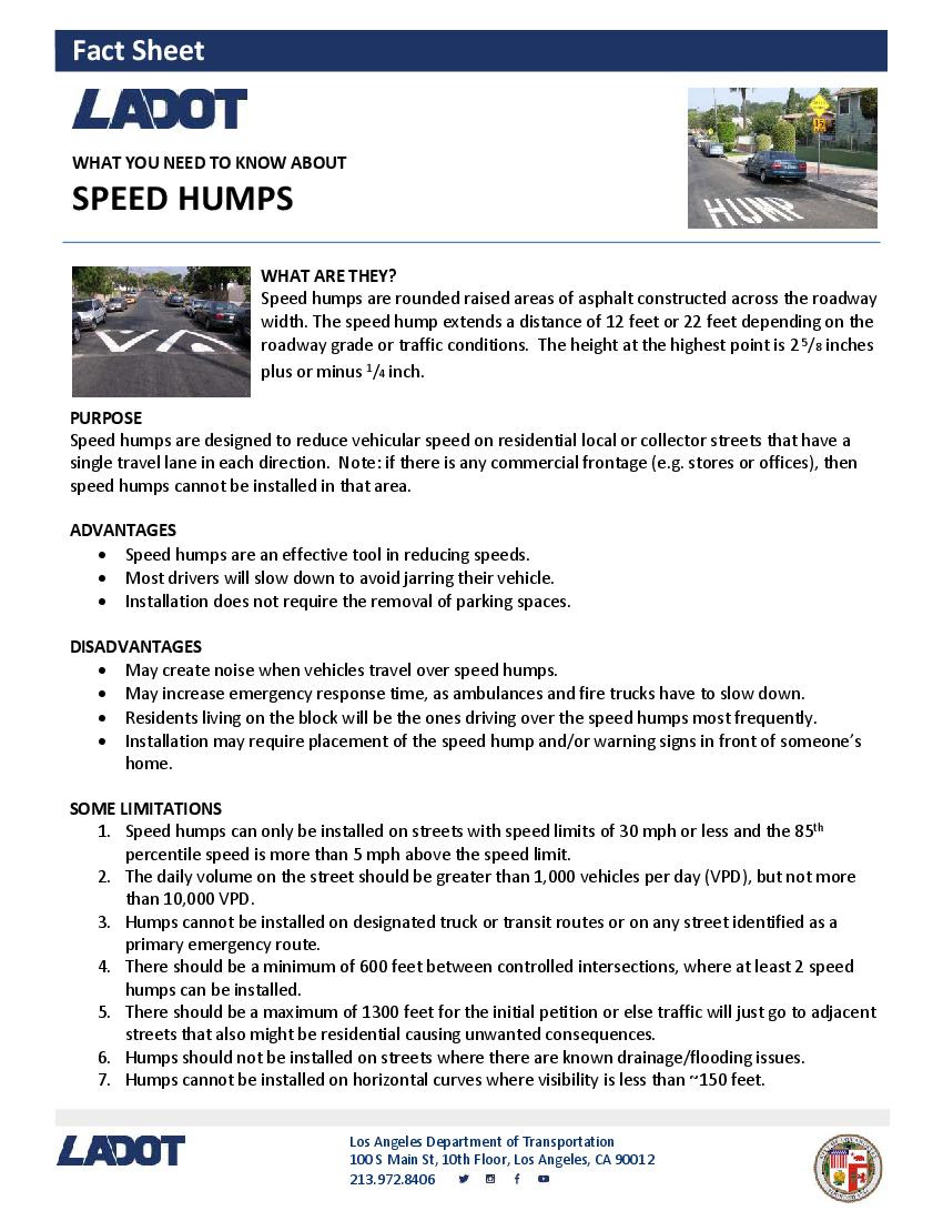 Speed Humps Info Page 1