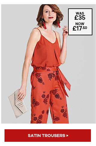 PRINTED SATIN WIDE LEG TROUSER. £17.50 from JD Williams