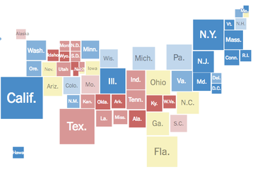 """<a href=""""http://www.nytimes.com/interactive/2016/09/20/upshot/electoral-map.html"""">The Upshot's forecast</a> for the presidential race, based on the latest national and state polls, as of Tuesday morning."""