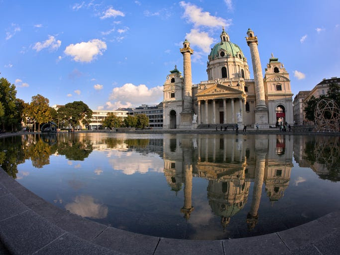 One of                                                           the greatest                                                           buildings in                                                           Vienna, a city                                                           of great                                                           buildings, is                                                           Karlskirche,                                                           or St. Charles                                                           Cathedral. The                                                           18th-century                                                             Baroque church                                                           contains                                                           13,454 square                                                           feet of                                                           stunning                                                           frescoes by                                                           Johannes                                                           Michael                                                           Rottmayr                                                           within.