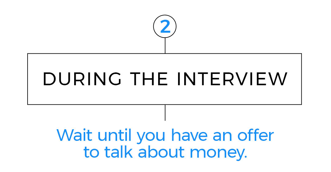 2. During the interview Wait until you have an offer to talk about money.