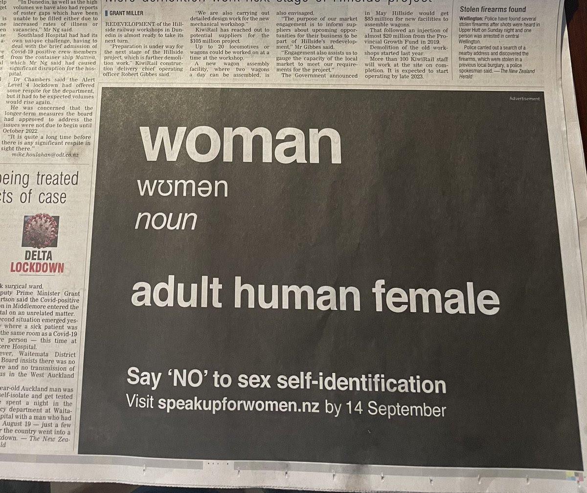 Speak Up For Women ODT Advert