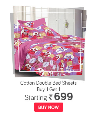 Buy 1 Get 1 | Cotton Double Bed Sheets