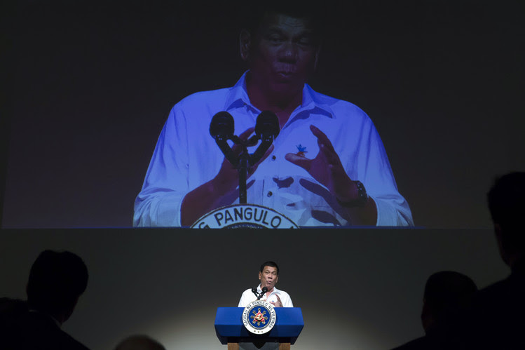 Philippine President Rodrigo Duterte addresses a forum in Japan in October.