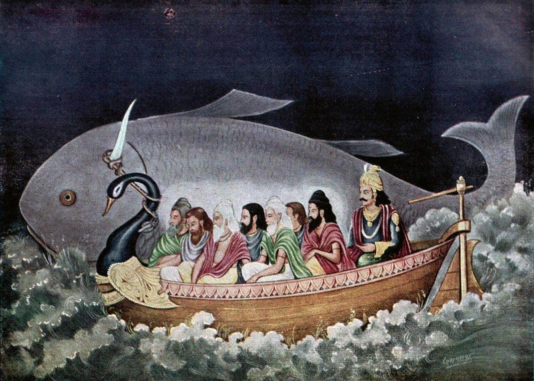 Matsya proteger Svayambhuva Manu y los siete sabios en el momento del diluvio