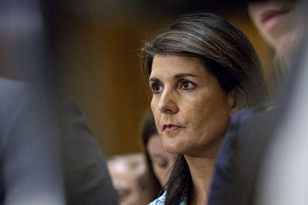 Amb. Nikki Haley attends the Senate Foreign Relations Committee confirmation hearing for Michael Pompeo in Washington on April 12. (Andrew Harrer/Bloomberg)</p>