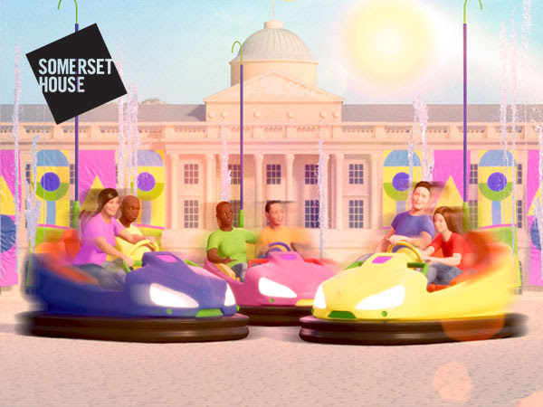 An artist's impression of people enjoying dodgems in the courtyard at Somerset House. There is a sun in pastel blue sky and bright and pastel colours of pink, blue, yellow.
