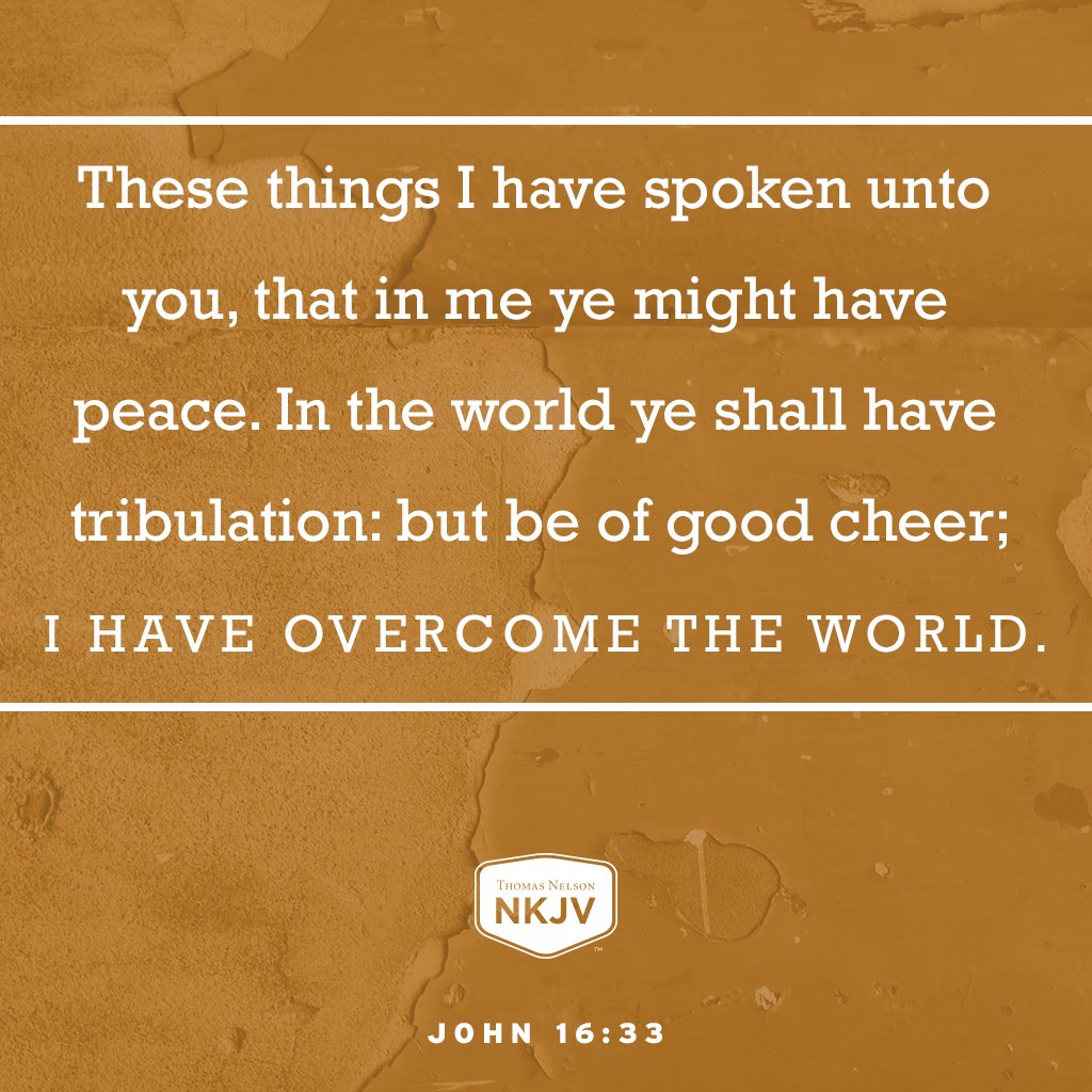 33 These things I have spoken unto you, that in me ye might have peace. In the world ye shall have tribulation: but be of good cheer; I have overcome the world. John 16:33