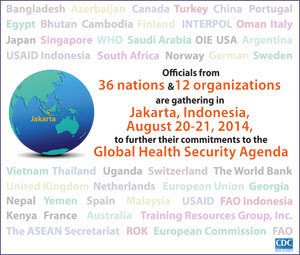 Infographic of the week: Officials from 36 nations and 12 organizations are gathering in Jakarta, Indonesia, August 20-21, 2014, to further their commitments to the Global Health Security Agenda.