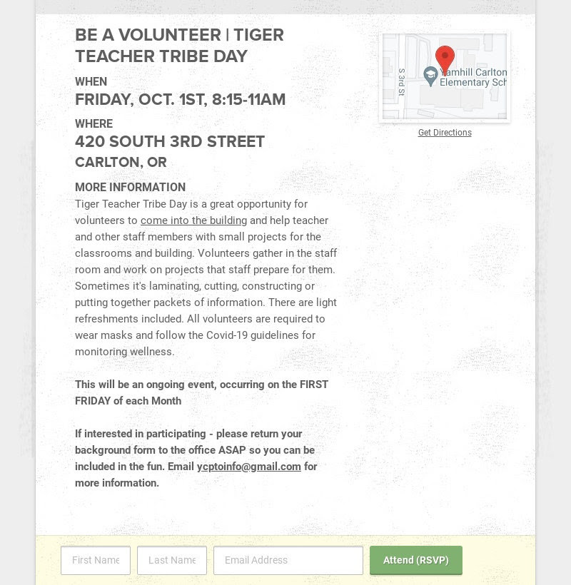 BE A VOLUNTEER | TIGER TEACHER TRIBE DAY                         WHEN                         FRIDAY, OCT. 1ST, 8:15-11AM                         WHERE                         420 SOUTH 3RD...