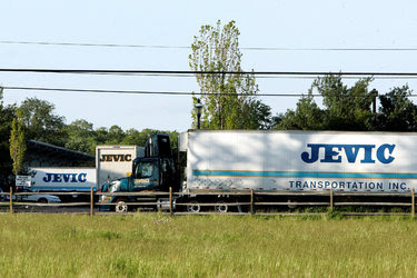 Jevic Transportation trucks at the company's Delanco, N.J., headquarters in 2008. The company filed for bankruptcy two years after a leveraged buyout by Sun Capital Partners, which former employees say heaped too much debt on its books.