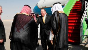 Saudi Foreign Minister Adel al-Jubeir, left, meets US Secretary of State Mike Pompeo Tuesday in Riyadh.