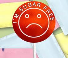 Cartoon of a frowning sugar-free lollipop.
