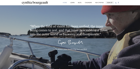 A snapshot image of Cynthia Bourgeault's new website.