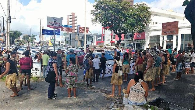 Povos Potiguaras fazem manifestação em João Pessoa em defesa da saúde indígena e autonomia política - Créditos: Tawã Clóvis