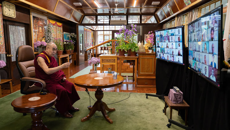 His Holiness the Dalai Lama speaking to Amity University students by video conference from his residence in Dharamsala, HP, India on June 26, 2020. Photo by Ven Tenzin Jamphel