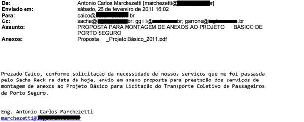 Trecho de e-mail de Antonio Carlos Marchezetti sobre edital de Porto Seguro (Foto: Reprodução)