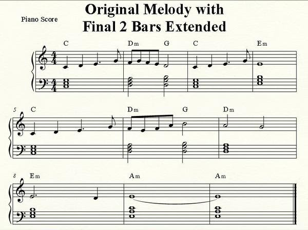 Original Melody with Final 2 Bar Extended