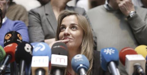 La excandidata a la Comunidad de Madrid, Tania Sánchez, en la rueda de presna ofrecida tras su salida de IU. EFE/Javier Lizón