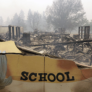 Burned down school in California