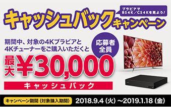 期間中、対象の4Kブラビアと4Kチューナーをご購入いただくと応募者全員最大¥30,000キャッシュバック キャンペーン期間(対象購入期間)2018.9.4(火)~2019.1.18(金)