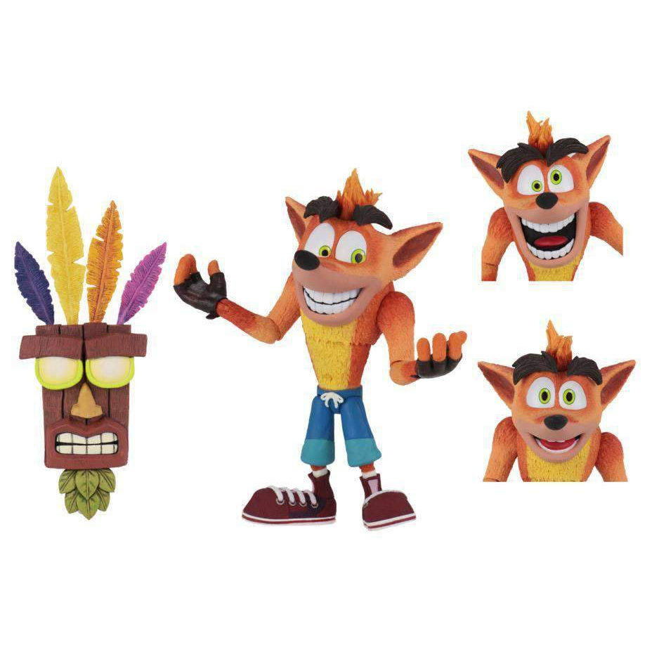Image of Crash Bandicoot Ultra Deluxe Crash Figure With Aku Aku Mask