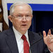 Attorney General Jeff Sessions speaking about his lawsuit against California during a meeting of law enforcement officers Wednesday in Sacramento.