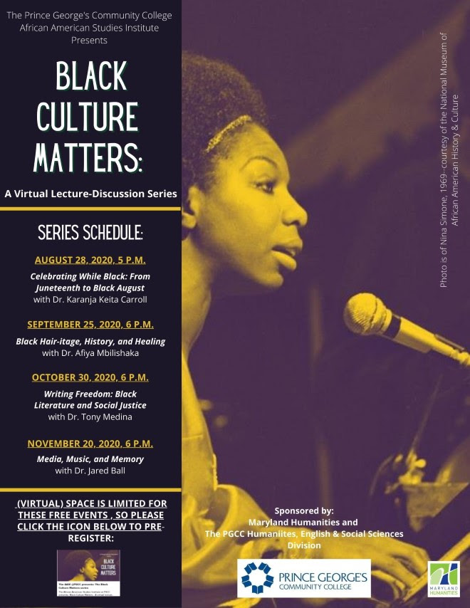 Black Culture Matters poster with woman singing