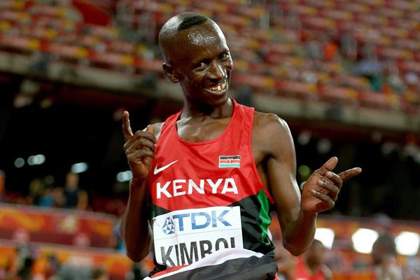 Ezekiel Kemboi celebrates after winning the 3000m steeplechase at the IAAF World Championships, Beijing 2015 (Getty Images)