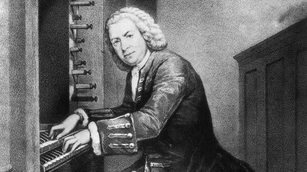 Johann Sebastian Bach playing the organ, not the lautenwerck, circa 1725. From a print in the British Museum.