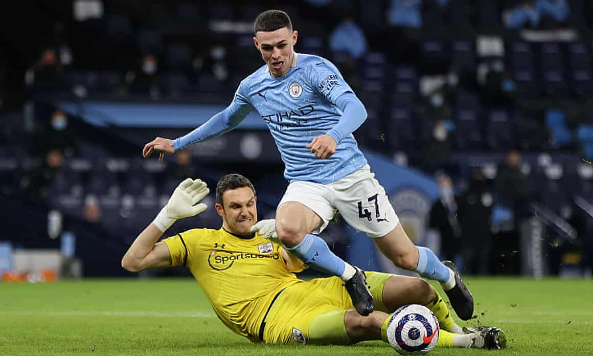 Southampton goalkeeper Alex McCarthy there, not fouling Phil Foden.