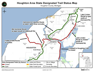 A map of the latest trail status in the Houghton area.