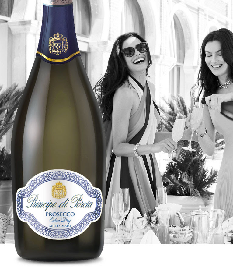 Bottle of Prosecco Extra Dry Millesimato DOC with two women celebrating