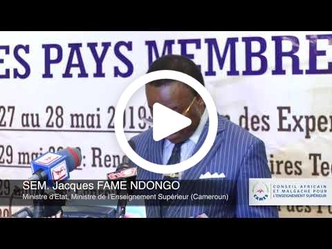 2. La deuxième allocution a été prononcée par le Président en exercice du Conseil des ministres du CAMES, le Professeur Jacques FAME NDONGO, Ministre d'État, Ministre de l'Enseignement Supérieur du Cameroun.