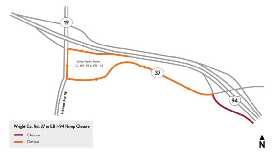 County Road 37 to eastbound I-94 ramp closure detour map