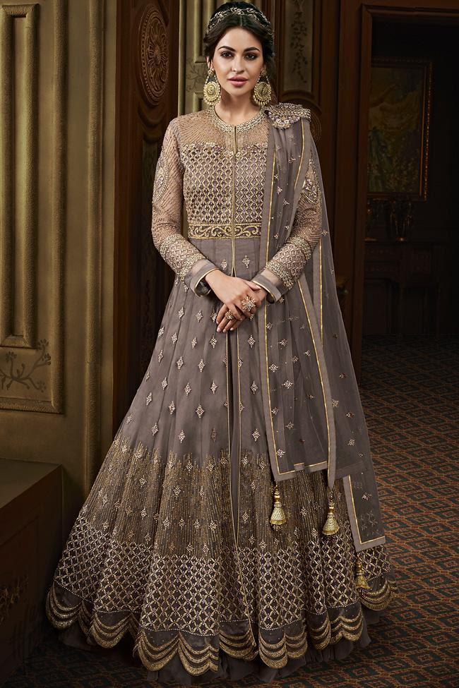 Mauve Net Wedding Anarkali Suit