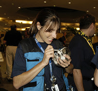 VMAT responder treats cat at the New Orleans airport during Hurricane Katrina