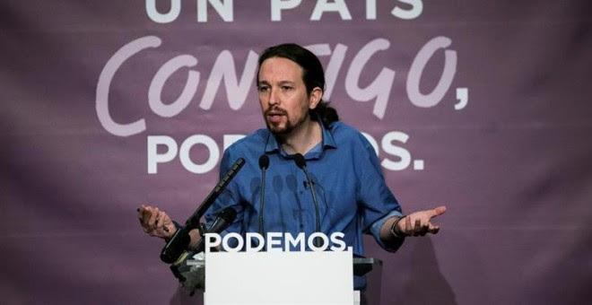 El secretario general de Podemos y candidato a la Presidencia del Gobierno, Pablo Iglesias, durante la rueda de prensa que ofreció este lunes. /EFE