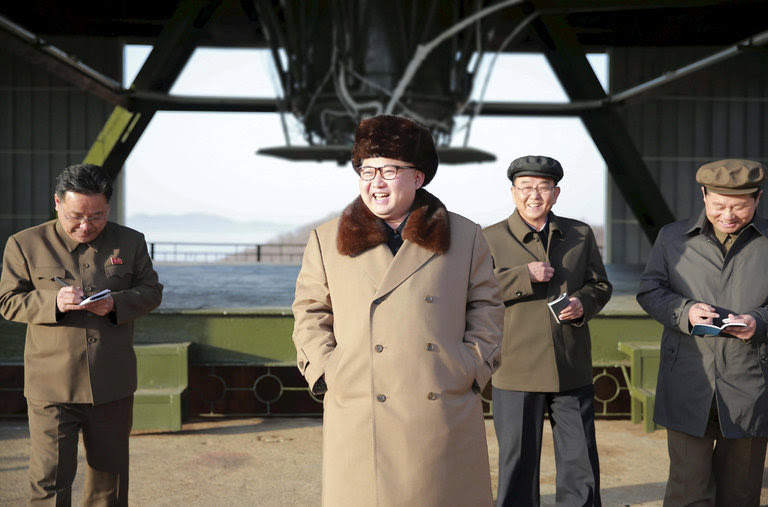 Kim Jong-un at a missile site in an image from North Korean state media. /