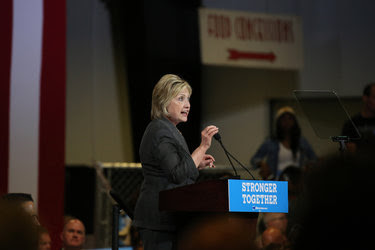 Hillary Clinton spoke at the North Carolina State Fairgrounds Exposition Center in Raleigh, NC., on Wednesday.