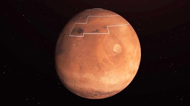La región delimitada por los científicos de la NASA donde habría agua a pocos centímetros de la superficie (NASA)