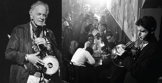 THE RENAISS ANCE MAN: David Amram today (left) and back in 1957, jamming on French horn at the Five Spot in New York City.