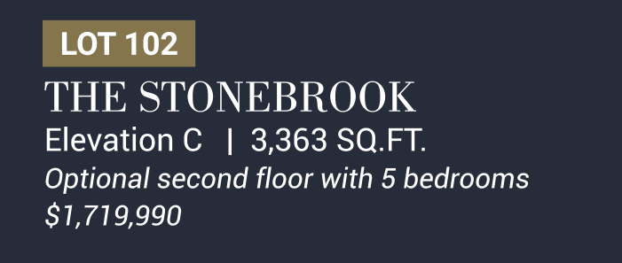 The Stonebrook Elevation C   3,363 SQ.FT. Optional second floor with 5 bedrooms